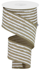 "2.5""X10YD IRREGULAR STRIPES ON ROYAL - LT BEIGE/WHITE"