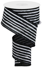 "2.5""X10YD IRREGULAR STRIPES ON ROYAL - BLACK/WHITE"