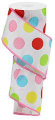 "2.5""X10YD MULTI POLKA DOTS/FAUX DUPIONI - WHITE/RED/ PINK/YLLW/GRN"