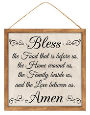 "12""SQ BLESS AMEN SIGN - OFF WHITE/BLACK/BROWN"