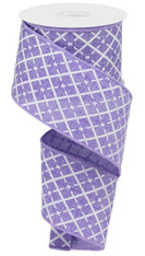 "2.5""X10YD GLITTERED ARGYLE ON ROYAL/LAVENDER"