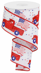 "2.5""X10YD PATRIOTIC TRUCK ON ROYAL/WHITE"