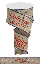 "2.5""X10YD PATRIOTIC WELCOME HOME - LT BEIGE/WHITE/RED/BLUE"