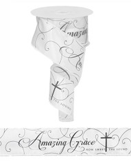 "2.5""X10YD AMAZING GRACE, 21 REPEATS - WHITE/BLACK"