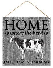 "10""SQ HOME IS WHERE THE HERD IS SIGN - GREY/BLACK/WHITE"