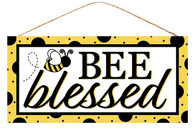 "12.5""L X 6""H BEE BLESSED SIGN - YELLOW/BLACK/WHITE"