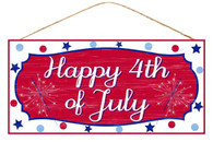 """12.5""""LX6""""H MDF """"HAPPY 4TH OF JULY"""" SIGN - RED/WHITE/BLUE"""