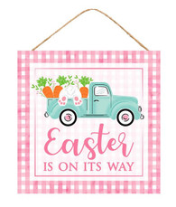"10""SQ EASTER IS ON ITS WAY/TRUCK SIGN - PINK/LIGHT BLUE/WHITE"