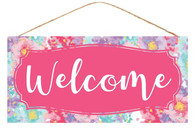 "12.5""L X 6""H FLORAL WELCOME SIGN - PINK MULTI"