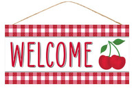 "12.5""L X 6""H WELCOME/CHERRY SIGN - RED/WHITE/BLACK"