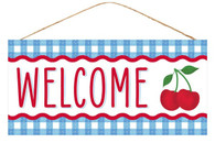 "12.5""L X 6""H WELCOME CHERRY SIGN - BLUE/WHITE/RED"