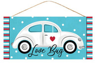 "12.5""L X 6""H LOVE BUG/CAR SIGN - BLUE/WHITE/BLACK/RED"