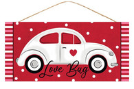 "12.5""L X 6""H LOVE BUG/CAR SIGN - RED/WHITE/BLACK/PINK"