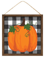 "10""SQ PUMPKIN ON CHECK SIGN W/WOOD FRAME - BLK/WHT/BRN/MOSS/ORNG"
