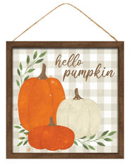 "10""SQ WATERCOLOR HELLO PUMPKIN SIGN - ORN/BRN/CRM/LT BEIGE/GRN"