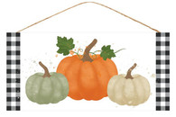"12.5""L X 6""H WATERCOLOR PUMPKINS SIGN - BLK/WHT/ORN/SAGE/BRN/CRM"