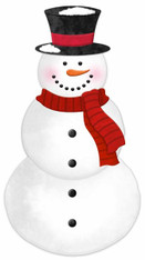 "12""H X 6.5""L METAL/EMBOSSED SNOWMAN - RED/WHITE/BLACK"