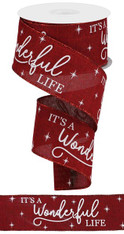 "2.5"" X 10YD IT'S A WONDERFUL LIFE/ROYAL - BURGUNDY/WHITE/RED"