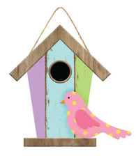 "12""H X 12""L BIRDHOUSE W/BIRD SIGN - PASTEL PURPLE/BLUE/GREEN"