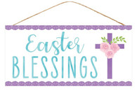 "12.5""L X 6""H EASTER BLESSINGS SIGN - WHITE/PURPLE/BLUE"