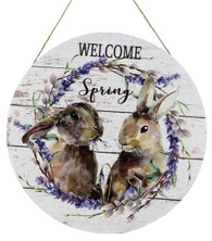 "12""DIA WELCOME SPRING RABBITS - WHITE/PURPLE/BROWN"