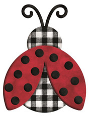"12""L X 9.25""H METAL/EMBOSSED CHECK LADYBUG - RED/BLACK/WHITE"