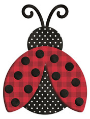 "12""L X 9.25""H METAL/EMBOSSED POLKA DOT LADYBUG - RED/BLACK/WHITE"