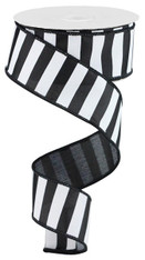 "1.5"" X 10YD MEDIUM HORIZONTAL STRIPE - BLACK/WHITE"