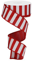"1.5"" X 10YD MEDIUM HORIZONTAL STRIPE - RED/WHITE"