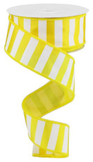 "1.5"" X 10YD MEDIUM HORIZONTAL STRIPE - YELLOW/WHITE"