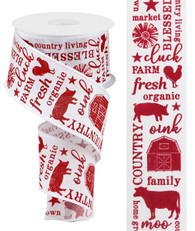 """2.5"""" X 10YD COUNTRY LIVING - WHITE/RED"""