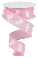 "1.5"" X 10YD BABY ITEMS ON ROYAL - LIGHT PINK/WHITE"