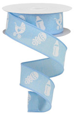 "1.5"" X 10YD BABY ITEMS ON ROYAL - PALE BLUE/WHITE"