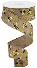 "1.5"" X 10YD MINI BUMBLEBEES ON ROYAL - LT BEIGE/YELLOW/WHITE"