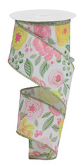 """2.5"""" X 10YD BOLD BLOOMS ON ROYAL - WHITE/PINK/YELLOW/GREEN"""