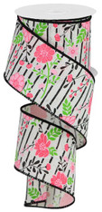 """2.5"""" X 10YD FLORAL LINES ON ROYAL - IVORY/MULTI PINK"""