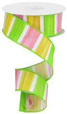 "1.5"" X 10YD WATERCOLOR STRIPES/ROYAL - YELLOW/PINK/GREEN/WHITE"