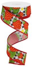 "1.5"" X 10YD STRAWBERRIES ON CHECK - BLACK/WHITE/RED"