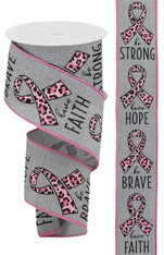 "2.5"" X 10 YD BREAST CANCER/ANIMAL PRINT - LT GREY/PINK/BLACK"