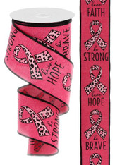 "2.5"" X 10 YD BREAST CANCER/ANIMAL PRINT - HOT PINK/BLACK"