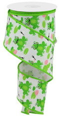 """2.5"""" X 10YD FROGS ON FAUX ROYAL - WHITE/GREEN/PINK"""