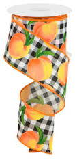 "2.5"" X 10YD PEACHES/GINGHAM ON PG - WHITE/PEACH/GOLD/GREEN"