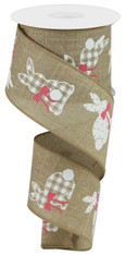 """2.5"""" X 10YD PATTERNED BUNNIES ON ROYAL - LT BEIGE/WHITE/PINK"""
