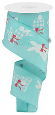 """2.5"""" X 10YD PATTERNED BUNNIES ON ROYAL - ICE BLUE/WHITE/PINK"""