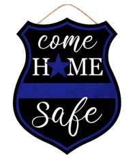 "12""H X 9.5""W HOME SAFE POLICE SIGN - BLUE/BLACK/WHITE"