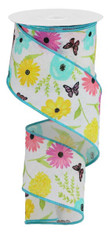 """2.5"""" X 10YD WILDFLOWERS ON ROYAL - WHITE/GREEN/PINK/LAVENDER"""