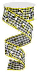 "1.5"" X 10YD MINI BUMBLEBEES GINGHAM CHECK - YELLOW/BLACK/WHITE"