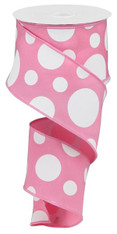"""2.5"""" X 10YD GIANT THREE SIZE DOT/PG FABRIC - PINK/WHITE"""