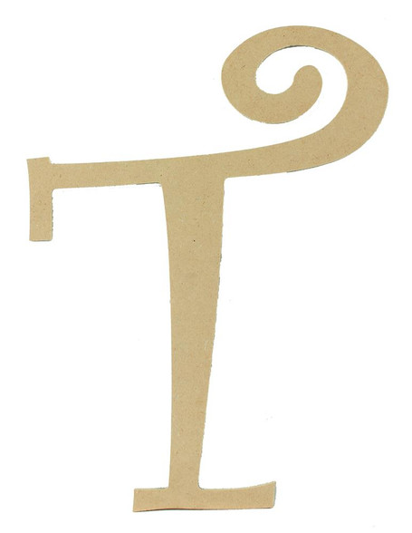 Wood letter, natural, mdf, letter T, can be painted, put in wreaths, hung on christmas trees, walls, curly letter