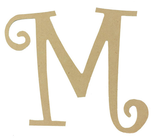 Wood letter, natural, mdf, letter M, can be painted, put in wreaths, hung on christmas trees, walls, curly letter